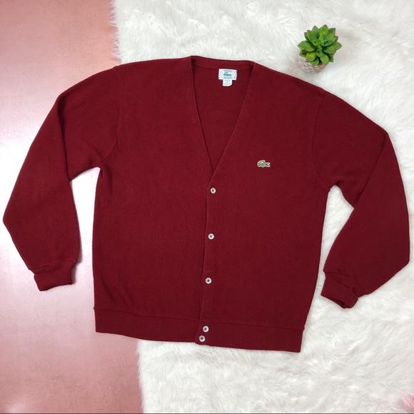 c27f0f1cf87a7 IZOD Lacoste Vintage Garnet Red Cardigan Sweater